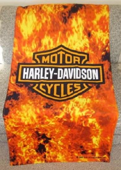 New Large Harley Davidson Flames Shield Motorcycle Bath Beach Towel